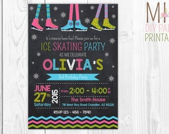 Ice Skate Birthday Invitation, Ice Rink Invitation, Ice Skating Invitation, White Ice Skate, Snow flake invite, Ice Skating Birthday Party