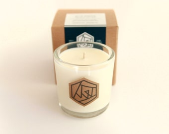 TOBACCO BLOOM Glass Soy Candle - all natural soy candle, cotton wick, premium fragrance oils, rosewood and tobacco scented handpoured candle