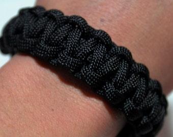 Black. Paracord survival bracelet
