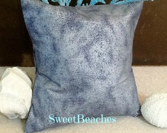 Shimmering Silver  on Navy Beach Pillow Covers Ocean Seaside Nautical Decor