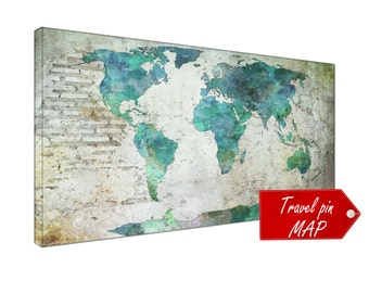 push pin world map canvas wall art print push pin world map Large One or four push pin world map art print on canvas