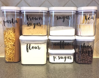 Kitchen Canister Vinyl Labels - Set of 8
