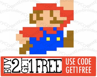 8 Bit Mario Embroidery File
