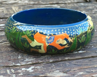 Hand painted wooden bangle bracelet - hunters and hunted… YIKES!