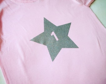 Pink First birthday t-shirt with silver glitter 1