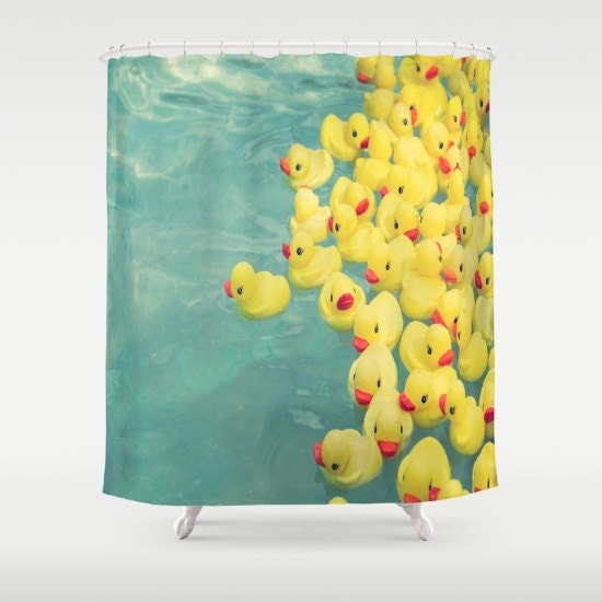 Funny Shower Curtain Rubber Duck Aqua Shower Curtain