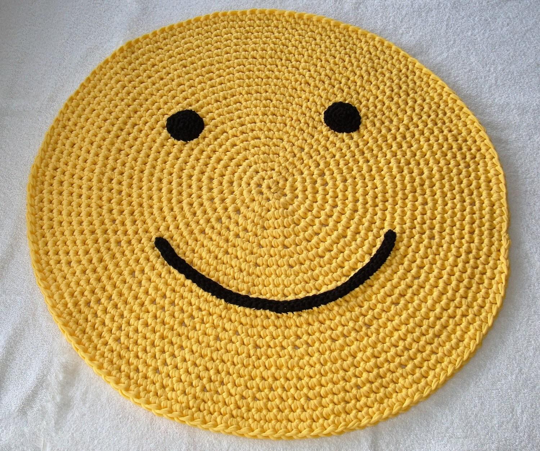 Crochet Emoji Happy Face Rug Handmade Emoji Throw Rug Yellow