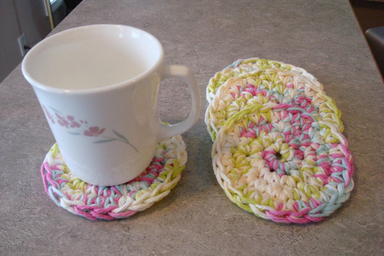 Crocheted coasters handmade drink coasters green blue for Handmade drink coasters