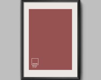 Pantone Color Print, Marsala, Pantone Color of The Year, Minimal Wall Art