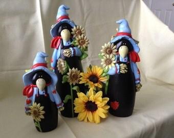 Ceramic crow trio