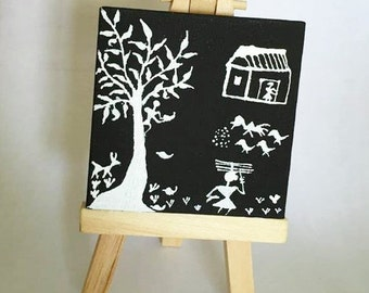Summer Noon of a family in village tribal Warli Painting on mini canvas FREE SHIPPING USA -culturelink