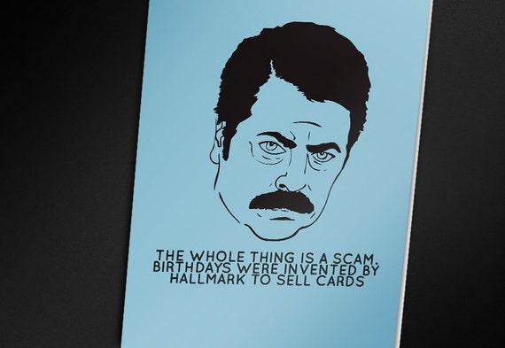 Ron Swanson Birthday Card PRINTABLE CARD