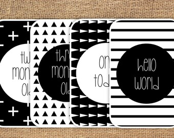 SALE - Baby Milestone Cards Monochrome download, Babies First Year, Photo Props, Social Media, Black and White Triangles Stripes Crosses 020