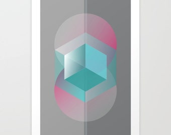 Bedtime story,Art print,abstract art print,geometric art print,art poster,wall art print,abstract poster,abstract wall print,turquoise,pink