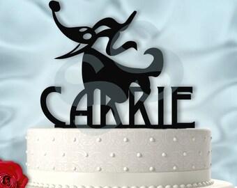Zero From Nightmare Before Christmas Birthday Cake Topper Name