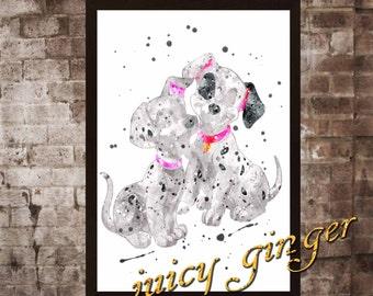 Dalmatians art print ,101 Dalmatians disney, watercolor poster, Art Print, instant download, Watercolor Print, poster, Home Decor