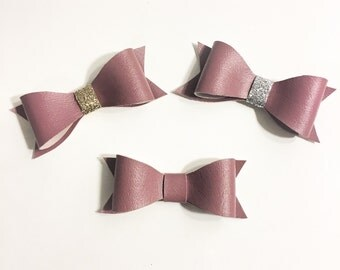 Dust pink leather hair clips