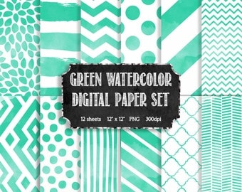 Watercolor Digital Paper Set in Green + White - Modern Digital Paper - Scrapbooking Paper - Watercolor Digital Paper - INSTANT DOWNLOAD