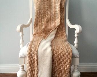 Cozy Orange and Beige Chenille Throw Blanket