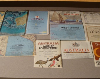 Box of 70+ 64-89 National Geographic maps in original folded condition