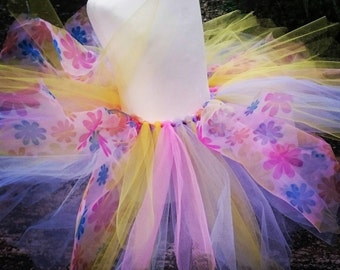 Summer Tutu Skirt,  Summer Flowers, Essence of Summer, Princess Skirt, Flower Skirt,