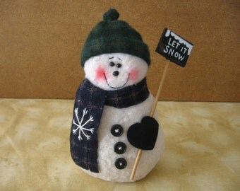Country Snowman with Let it Snow Sign