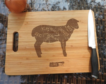 ikb207 Personalized Cutting Board Wood sheep lamb cutting restaurant kitchen