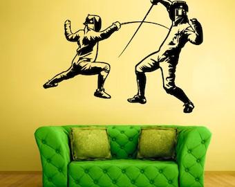 rvz568 Wall Vinyl Sticker Bedroom Decal Modern Decal Sword Swordplay Fencing