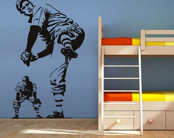 rvz1221 Wall Vinyl Sticker Decals Decor Baseball Kids Pitcher Sport Ball