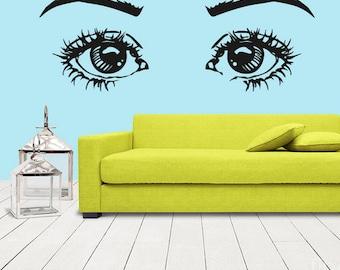 rvz1278 Wall Decal Vinyl Sticker Eye Eyes Girl Cartoon