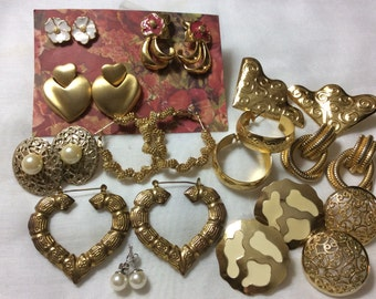 Gold tone  vintage earrings lot 12 pair pierced ears Destash Hoops Hearts Flowers