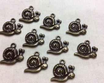 Snail Charms Bronze 10pcs