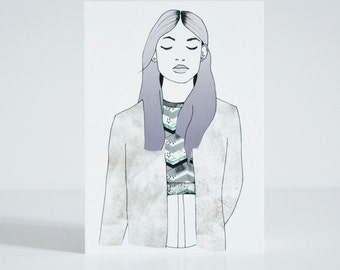 Chill Girl Postcard - Fashion Illustration of Girl with lavendel ombre hair