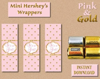 Baby Shower-It's a Girl! - Mini Hershey's Nuggets Wrappers-Chocolate-Instant Download-DIY-Party Favors-Pink and Gold
