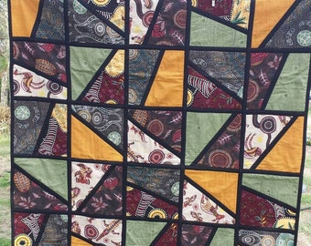 Aboriginal flora and fauna quilt 120cm x 150cm