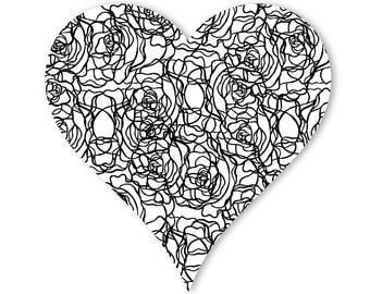 Color Me Rose Heart Doodle Decal (12 in x 12 in)