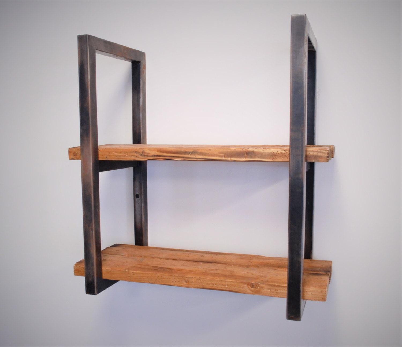 reclaimed wood and steel shelves. Black Bedroom Furniture Sets. Home Design Ideas