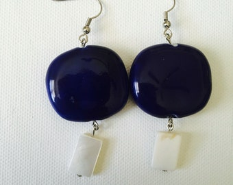 Blue Sapphire Stone & Pearl Earrings