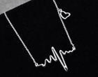 Ladies Electrocardiogram Heartbeat Rhythm Necklace