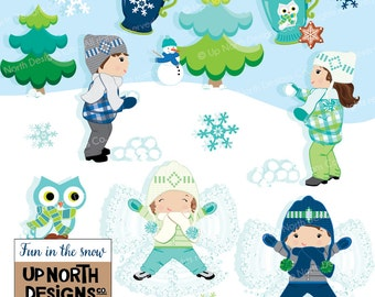 Snow angel clipart snowball fight clipart Illustration Set Personal and Commercial Use Fun in the snow