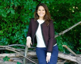 Tailored jacket, Burgundy jacket, Dress jacket by Hanieh Fashion