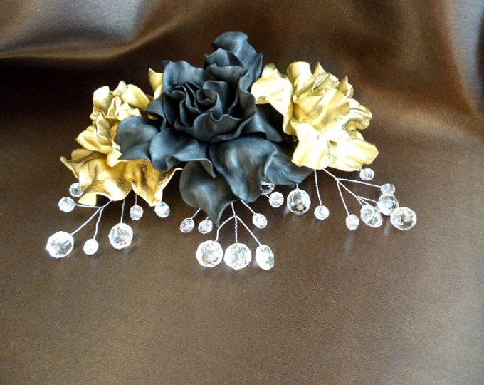 Bridal gold black comb for hair Wedding Fascinator Crystal comb Hair Grip Slide Bridesmaids Black And Gold hair pin rhinestones hair comb