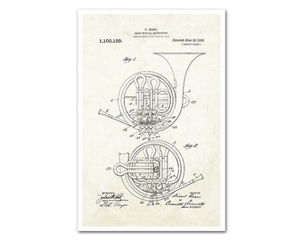 French Horn Patent Poster Print