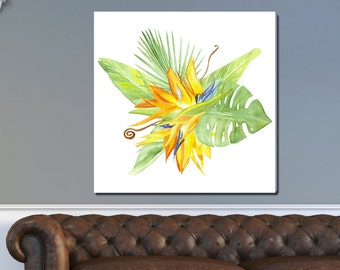 Birds of Paradise, Tropical Watercolor Gallery-Wrapped Canvas