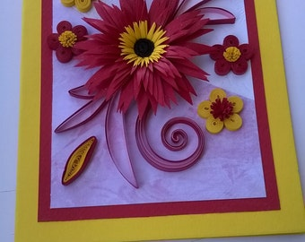 Quilling Greeting Card, Stylish Birthday Card, Quilled Birthday Card, Mom's Card, Handmade Card, Paper Card, Congratulation Card, Red Flower