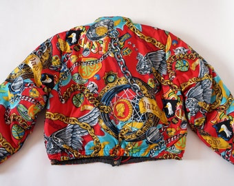 Kenzo Jungle vintage print bomber jacket chain eagle lion coin print RARE item size M