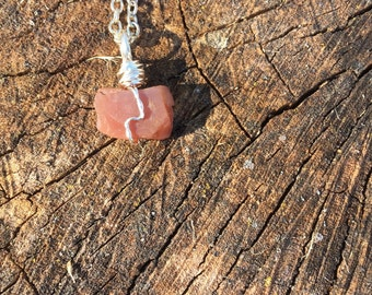 Wire-Wrapped Red Carnelian Pendant