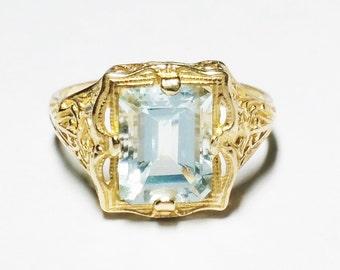 Vintage 10K Ultra Light Blue Topaz  Victorian Style Filigree Ring