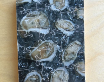 Hand-cut mini wooden jigsaw puzzle: oysters