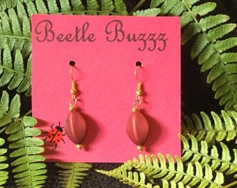 Handmade Red glass earrings